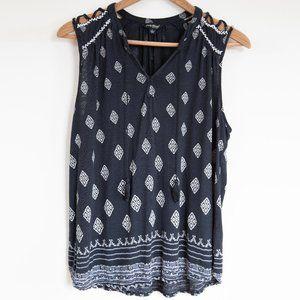 Lucky Brand Sleeveless Boho Pattern Summer Blouse